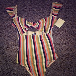 Striped body suit
